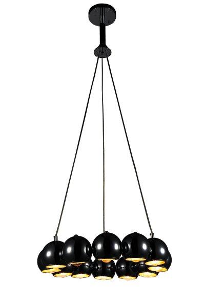 Люстра подвесная St luce SL854.243.12подвесные люстры хай тек<br>Если Вы настроены купить светильник модели SL85424312, то обратите внимание: Коллекция Glio поражает необычным запоминающимся дизайном. Светильники идеально вписываются в современный интерьер , оформленный в стиле минимализм, техно или хай- тек. <br>Полузакрытые шарообразные абажуры создают мягкое направленное освещение.Возникает ощущение комфорта и уюта как только включаются лампочки и глянцевые поверхности хромированных или черных плафонов начинают активно отражать свет, создавая игривые блики, разлетающиеся по всем поверхностям комнаты.<br><br>Установка на натяжной потолок: Да<br>S освещ. до, м2: 24<br>Крепление: Планка<br>Тип лампы: накаливания / энергосбережения / LED-светодиодная<br>Тип цоколя: E14<br>Цвет арматуры: Черный<br>Количество ламп: 12<br>Диаметр, мм мм: 580<br>Высота, мм: 450<br>Поверхность арматуры: глянцевая<br>MAX мощность ламп, Вт: 40