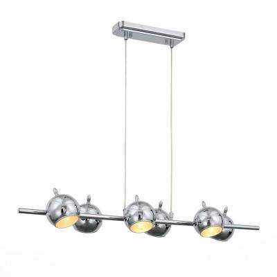 Люстра потолочная St luce SL854.113.06 Glioдлинные подвесные светильники<br>Компания «Светодом» предлагает широкий ассортимент люстр от известных производителей. Представленные в нашем каталоге товары выполнены из современных материалов и обладают отличным качеством. Благодаря широкому ассортименту Вы сможете найти у нас люстру под любой интерьер. Мы предлагаем как классические варианты, так и современные модели, отличающиеся лаконичностью и простотой форм. <br> Коллекция Glio поражает  необычным  запоминающимся дизайном. Светильники идеально  вписываются в современный интерьер, оформленный в стиле  минимализм, техно или хай- тек. <br>Полузакрытые шарообразные абажуры создают мягкое направленное освещение. Возникает ощущение комфорта и уюта как только включаются лампочки и глянцевые поверхности хромированных или черных плафонов начинают активно отражать свет, создавая игривые блики, разлетающиеся по всем поверхностям комнаты. <br> Купить понравившуюся люстру по доступной цене Вы можете в интернет-магазине «Светодом».<br><br>Установка на натяжной потолок: Да<br>S освещ. до, м2: 12<br>Крепление: Планка<br>Тип лампы: накаливания / энергосбережения / LED-светодиодная<br>Тип цоколя: E14<br>Цвет арматуры: серебристый<br>Количество ламп: 6<br>Ширина, мм: 300<br>Высота полная, мм: 1000<br>Длина, мм: 1040<br>Высота, мм: 150<br>Поверхность арматуры: глянцевая<br>Оттенок (цвет): серебристый<br>MAX мощность ламп, Вт: 40