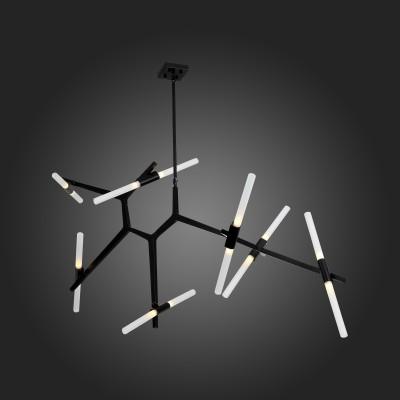 SL947.402.14 Люстра подвесная ST LuceПодвесные<br>Необычные модели коллекции Bastoni сложно назвать просто осветительными приборами, они больше напоминают концептуальные модели диковинного футуристического устройства. Радиально расположенные лучи металлического основания и крепящиеся к ним плафоны могут вращаться , изменяя своё  положение в пространстве- это нетривиальная конструкционная находка для оптимальной функциональности и эффективности люстры. Акриловые плафоны мягко рассеивают свет от LED источников.<br><br>Тип лампы: галогенная/LED<br>Тип цоколя: G9<br>Количество ламп: 14<br>Ширина, мм: 1600<br>MAX мощность ламп, Вт: 40<br>Высота, мм: 730 - 1100 - 1800<br>Цвет арматуры: черный