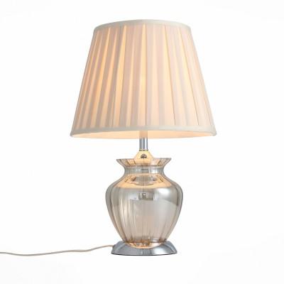 Настольная лампа St luce SL967.104.01Современные<br>Коллекция светильников Assenza-это сочетание классических плафонов с уникальными стеклянными основаниями-настоящими шедеврами стеклодувов.Прозрачный каркас светильников, попадая под направленный световой поток, создает ощущение невесомости, и кажется, что абажур парит в воздухе. Свет, отражаясь от стекла, игривыми лучами разлетается по всей комнате, наполняя ее настроением и уютом. Матовый абажур сдерживает естественную яркость лампы, приглушает свет и создает приятную приватную атмосферу.<br><br>Тип лампы: Накаливания / энергосбережения / светодиодная<br>Тип цоколя: E27<br>Цвет арматуры: серебристый<br>Количество ламп: 1<br>Диаметр, мм мм: 330<br>Высота, мм: 510<br>MAX мощность ламп, Вт: 60