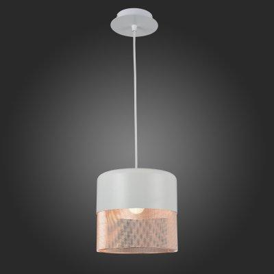 Светильник подвесной St luce SL976.443.01Одиночные<br>Если Вы настроены купить светильник модели SL97644301, то обратите внимание: Коллекция светильников Tondatto – это свежий взгляд для оформления уютного домашнего интерьера. Эти люстры можно было бы назвать классическими, если учитывать только форму и пропорции. Неожиданный черный матовый цвет, занимающий всю верхнюю часть плафона, добавляет гламурности коллекции, а изящная паутинка из медных нитей на матовом белом металле издалека кажется теплым вязаным чехлом, так уместным в узком семейном кругу. Лампа накаливания, которая предусмотрена в этой коллекции в качестве источника света, только добавляет душевности и без того умиротворённой атмосфере.<br><br>S освещ. до, м2: 3<br>Крепление: на планку<br>Тип лампы: накаливания / энергосбережения / LED-светодиодная<br>Тип цоколя: E27<br>Количество ламп: 1<br>MAX мощность ламп, Вт: 60<br>Диаметр, мм мм: 215<br>Длина цепи/провода, мм: 1100<br>Высота, мм: 275<br>Поверхность арматуры: матовая<br>Оттенок (цвет): Белый, медь<br>Цвет арматуры: белый