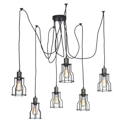 SLD963.303.06 Люстра подвесная ST Luce Черный, Бронза/Черный E27 6*60WПодвесные<br><br><br>Установка на натяжной потолок: Да<br>S освещ. до, м2: 18<br>Тип лампы: Накаливания / энергосбережения / светодиодная<br>Тип цоколя: E27<br>Количество ламп: 6<br>MAX мощность ламп, Вт: 60<br>Диаметр, мм мм: 600<br>Высота, мм: 2000
