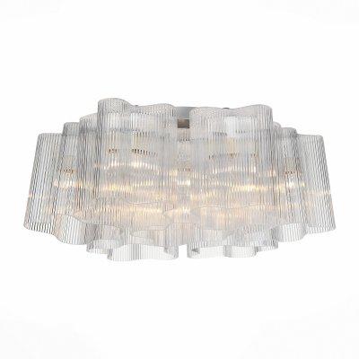 Светильник St Luce SLE116.102.07современные потолочные люстры модерн<br>Если Вы настроены купить светильник модели SLE11610207, то обратите внимание: Ценителям оригинальных форм и красоты в области освещения, а также необычных дизайнерских решений понравится люстра коллекции Aria . Форма светильника позволяет сэкономить пространство, но в то же время будет абсолютно по-новому представлять интерьер. Новаторские технологии, оригинальность, функциональность и качество - весомые аргументы. Основание светильника выполнено из металла и окрашено в цвет хрома. Плафоны необычной формы изготовлены из декоративного полупрозрачного стекла вручную ,каждый из них неповторим.<br><br>Установка на натяжной потолок: Ограничено<br>S освещ. до, м2: 21<br>Тип цоколя: E27<br>Количество ламп: 7<br>Диаметр, мм мм: 500<br>Высота, мм: 220<br>MAX мощность ламп, Вт: 60