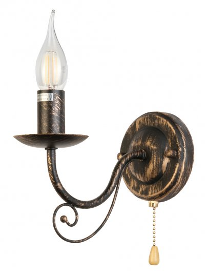 Светильник настенный бра Toplight TL6010B-01 Dalilaклассические бра<br>Бра TOPLIGHT серия Dalila артикул TL6010B-01, черный с золотом, E14, 1x60 в идеале использовать со светодиодными лампами, которые помимо энергосбережения, помогут сохранить долгий срок службы светильника за счет незначительного нагрева ламп.<br><br>Тип цоколя: E14<br>Цвет арматуры: золотой<br>Количество ламп: 1<br>Ширина, мм: 110<br>Глубина, мм: 220<br>Высота, мм: 210<br>MAX мощность ламп, Вт: 60