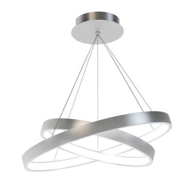 Люстра светодиодная серебристая TLRU2-30/40-01/S/4000К Лючераподвесные люстры хай тек стиля<br>Стильная, современная люстра – светодиодный дизайнерский светильник из двух колец. Подходит для интерьеров в стиле модерн, хайтек, лофт.<br>Испускает тепло-белый яркий свет, похожий на солнышко, без выраженных пятен.<br>Преимущества:<br>1. Надежный и долговечный: диоды расположены на алюминиевой плате, а не на ленте. <br>2. Прочный: основание и корпус и металла, а не из пластика.<br>3. Безопасный: нулевой коэффициент мерцания – благоприятно для зрения.