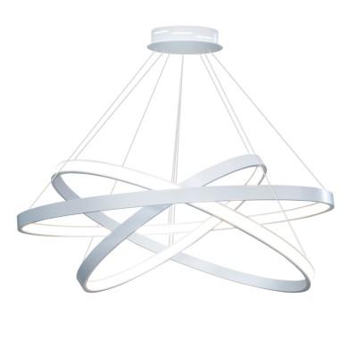 Люстра светодиодная белая TLRU3-50/60/70-01/W/4000К Лючераподвесные люстры хай тек<br>Стильная, современная люстра – светодиодный дизайнерский светильник из трех колец. Подходит для интерьеров в стиле модерн, хайтек, лофт.<br>Испускает тепло-белый яркий свет, похожий на солнышко, без выраженных пятен.<br>Преимущества:<br>1. Надежный и долговечный: диоды расположены на алюминиевой плате, а не на ленте. <br>2. Прочный: основание и корпус и металла, а не из пластика.<br>3. Безопасный: нулевой коэффициент мерцания – благоприятно для зрения.<br><br>Установка на натяжной потолок: Да<br>S освещ. до, м2: 37<br>Крепление: Планка<br>Тип лампы: LED - светодиодная<br>Тип цоколя: LED<br>Цвет арматуры: Белый<br>Ширина, мм: 700<br>Высота полная, мм: 1000<br>Длина, мм: 700<br>Высота, мм: 100<br>Общая мощность, Вт: 92