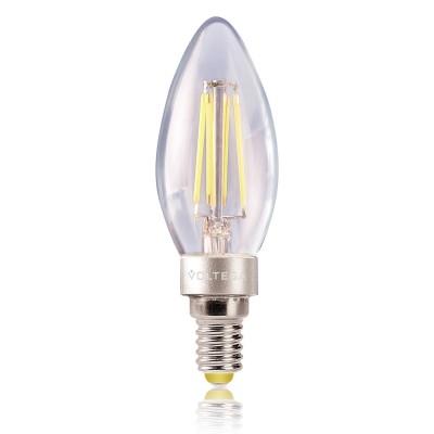 Лампа светодиодная свеча 4W Е14 4000К VG1-C1E14cold4W-F1В виде свечи<br>В интернет-магазине «Светодом» можно купить не только люстры и светильники, но и лампочки. В нашем каталоге представлены светодиодные, галогенные, энергосберегающие модели и лампы накаливания. В ассортименте имеются изделия разной мощности, поэтому у нас Вы сможете приобрести все необходимое для освещения. <br> Лампа Voltega VG1-C1E14cold4W-F1 обеспечит отличное качество освещения. При покупке ознакомьтесь с параметрами в разделе «Характеристики», чтобы не ошибиться в выборе. Там же указано, для каких осветительных приборов Вы можете использовать лампу Voltega VG1-C1E14cold4W-F1Voltega VG1-C1E14cold4W-F1. <br> Для оформления покупки воспользуйтесь «Корзиной». При наличии вопросов Вы можете позвонить нашим менеджерам по одному из контактных номеров. Мы доставляем заказы в Москву, Екатеринбург и другие города России.<br><br>Цветовая t, К: CW - холодный белый 4000 К<br>Тип лампы: LED - светодиодная<br>Тип цоколя: E14<br>MAX мощность ламп, Вт: 4<br>Диаметр, мм мм: 35<br>Длина, мм: 106