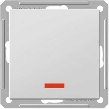 Переключатель Wessen 59 одноклавишный с индикацией матовый хром (VS616-157-5-86)Мат хром<br>250В, 16АХ, скрытой установки, без рамки<br><br>Оттенок (цвет): серебристый
