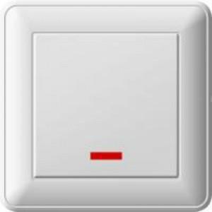 Выключатель Wessen 59 одноклавишный с индикацией белый (VS116-153-18)Белые розетки и  выключатели Wessen<br>250В, 16АХ, скрытой установки, без рамки<br><br>Оттенок (цвет): белый