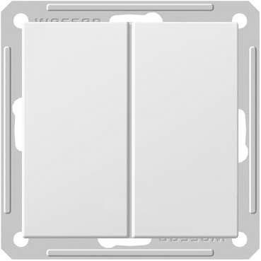 Переключатель Wessen 59 двухклавишный матовый хром (VS616-256-5-86)Мат хром<br>250В, 16АХ, скрытой установки, без рамки<br><br>Оттенок (цвет): серебристый