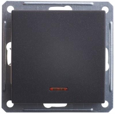 Переключатель/выключатель Wessen 59 одноклавишный с индикацией черный бархат (VS616-157-6-86)Черный бархат<br>250В, 16АХ, скрытой установки, без рамки<br><br>Оттенок (цвет): черный