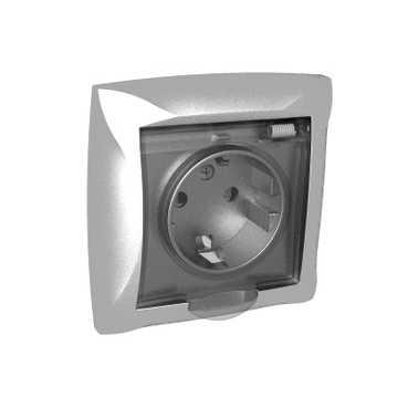 Lexel Дуэт серебро Розетка с заземлением со шторками с крышкой IP44, в сборе (SE WDE000348)Серебро<br><br><br>Оттенок (цвет): серебристый