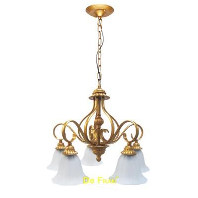 Люстра DeFran YL-3343-5RBC Е27 220В 5 40Вт КЛАССИКА медно-золотой стекло матовоеПодвесные<br><br><br>Установка на натяжной потолок: Да<br>S освещ. до, м2: 10<br>Крепление: Крюк<br>Тип лампы: Накаливания / энергосбережения / светодиодная<br>Тип цоколя: E27<br>Количество ламп: 5<br>MAX мощность ламп, Вт: 40<br>Диаметр, мм мм: 700<br>Высота, мм: 920<br>Цвет арматуры: золотой