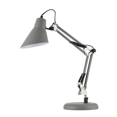 Настольная лампа Maytoni Z136-TL-01-GR ZeppoОфисные<br><br><br>Тип лампы: Накаливания / энергосбережения / светодиодная<br>Тип цоколя: E27<br>Цвет арматуры: Серый<br>Количество ламп: 1<br>Ширина, мм: 185<br>Глубина, мм: 440<br>Высота, мм: 500<br>MAX мощность ламп, Вт: 40