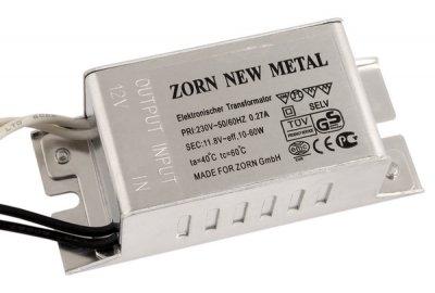 Трансформатор для галогенных ламп ZORN NEW Metal 60w 220/12vТрансформаторы 220/12<br>Трансформатор  ZORN NEW Metal  60w 220/12v<br><br>Ширина, мм: 35<br>Длина, мм: 80<br>Высота, мм: 30