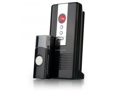 DBQ06M WL 36M IP44 Черный Электростандарт Звонок беспроводнойБеспроводные звонки<br>Количество мелодий: 36 шт.<br> Радиус действия: 80 м Регулятор громкости Световая индикация Режимы работы звонка: 1. звуковой + световой сигналы 2. звуковой сигнал 3. световой сигнал Элемент питания кнопки: CR2032 Элементы питания звонка: 3 x АА Степень пылевлагозащищенности: IP44 Рабочая температура: –30° ... +50° С Рабочая частота: 433 МГц Размер ресивера (В x Ш x Г): 140 x 65 x 45 мм  Комплектация: ресивер, кнопка, батарейка для кнопки  (СR2032), инструкция по эксплуатации.<br>