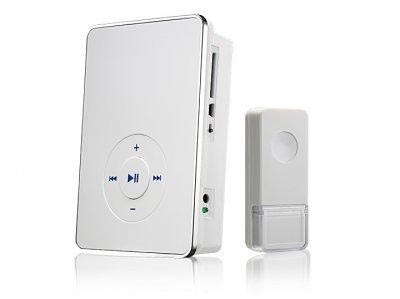 DBQ10M WL MP3 16M IP44 Белый Электростандарт Звонок беспроводнойДверной звонок mp3<br>Количество мелодий: 16 шт. Качество звука: MP3 формат  Радиус действия: 200 м Регулятор громкости Элемент питания кнопки: CR2032 Элементы питания звонка: 3 х АА Пылевлагозащищенность: IP44 Рабочая температура: –30° ... +50° С Рабочая частота: 433 МГц Размер ресивера (В x Ш x Г): 140 x 96 x 37 мм Комплектация: ресивер, кнопка, батарейка для кнопки, кабель mini USB, карта SD 1 Gb,  CD с программным обеспечением, инструкция по эксплуатации.  На SD карту памяти может быть записано ~100 мелодий или  ~1500 фрагментов мелодий длительностью 15 секунд.  Звонок работает с картами памяти SD емкостью до 16 Gb.  Программное обеспечение Позволяет создавать уникальные рингтоны<br>
