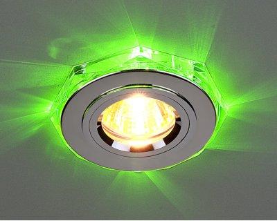2020/2 SL/LED/GR (хром / зеленый) Электростандарт Точечный светильник со светодиодамиКруглые LED<br>Лампа: MR16 G5.3 max 35 Вт + LED Мощность LED подсветки: 1 Вт Диаметр: ? 96 мм Высота внутренней части: ? 12 мм Высота внешней части: ? 12 мм Монтажное отверстие: ? 60 мм Гарантия: 2 года<br><br>S освещ. до, м2: 2<br>Тип лампы: галогенная<br>Тип цоколя: gu5.3<br>Цвет арматуры: серебристый<br>Диаметр, мм мм: 91<br>Диаметр врезного отверстия, мм: 65<br>Оттенок (цвет): зеленый<br>MAX мощность ламп, Вт: 50