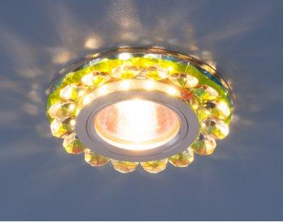 6036 MR16 MLT мульти Электростандарт Точечный светодиодный светильник с хрусталемХрустальные<br>Точечные светильники Elektrostandard™ предназначены для жилых и общественных помещений. Светильник подходит для всех типов подвесных потолков: гипсокартонных, натяжных и реечных. Cветильники оснащены светодиодной подсветкой, которая может быть включена как совместно с лампой, так и отдельно. Мягкий свет от светодиодов создает идеальную атмосферу для отдыха или просмотра телевизора.<br> Лампа: MR16 G5.3 max 50 Вт + LED Мощность LED подсветки: 3 Вт Диаметр: ? 90 мм Высота внутренней части: ? 20 мм Высота внешней части: ? 15 мм Монтажное отверстие: ? 70 мм Гарантия: 2 года<br><br>Тип цоколя: gu5.3<br>Диаметр, мм мм: 90<br>Диаметр врезного отверстия, мм: 70<br>Высота, мм: 15<br>MAX мощность ламп, Вт: 50
