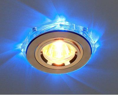 Светильник Elektrostandart 2020/2 GD/Led/BL золото/синийКруглые LED<br>Лампа: MR16 G5.3 max 35 Вт + LED Мощность LED подсветки: 1 Вт Диаметр: ? 96 мм Высота внутренней части: ? 12 мм Высота внешней части: ? 12 мм Монтажное отверстие: ? 60 мм Гарантия: 2 года<br><br>S освещ. до, м2: 2<br>Тип лампы: галогенная<br>Тип цоколя: gu5.3<br>Цвет арматуры: Золотой<br>Диаметр, мм мм: 91<br>Диаметр врезного отверстия, мм: 65<br>Оттенок (цвет): синий<br>MAX мощность ламп, Вт: 50