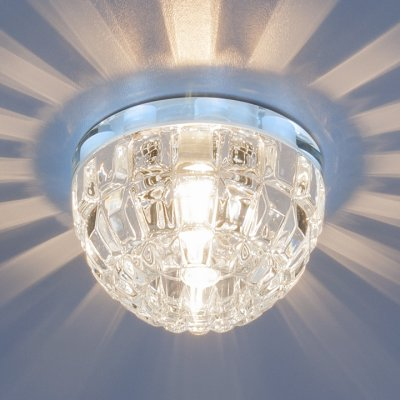 7246 G9 CH/CL хром/прозрачный Электростандарт Точечный светильник со светодиодной подсветкойВстраиваемые хрустальные светильники<br>Лампа: G9, max 50 Вт + LED Мощность LED подсветки: 1 Вт Диаметр: ? 80 мм Высота внутренней части: ? 30 мм Высота внешней части: ? 50 мм Монтажное отверстие: ? 60 мм Гарантия: 2 года<br><br>Тип цоколя: G9<br>Диаметр, мм мм: 80<br>Диаметр врезного отверстия, мм: 60<br>Высота, мм: 50<br>MAX мощность ламп, Вт: 50