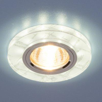 Точечный светильник светодиодный Elektrostandard 8371 MR16 WH/SL белый/сереброКруглые<br>Лампа: MR16 G5.3 max 50 Вт + LED Мощность LED подсветки: 3 Вт Диаметр: ? 90 мм Высота внутренней части: ? 17 мм Высота внешней части: ? 11 мм Монтажное отверстие: ? 65 мм Гарантия: 2 года<br><br>Тип цоколя: gu5.3<br>Диаметр, мм мм: 90<br>Диаметр врезного отверстия, мм: 65<br>MAX мощность ламп, Вт: 50