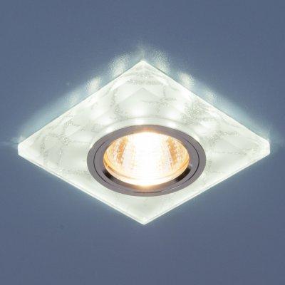 8361 MR16 WH/SL белый/серебро Электростандарт Точечный светильник светодиодныйКвадратные<br>Лампа: MR16 G5.3 max 35 Вт + LED Мощность LED подсветки: 3 Вт Размер: 90 х 90 мм Высота внутренней части: ? 16 мм Высота внешней части: ? 12 мм Монтажное отверстие: ? 65 мм Гарантия: 2 года<br><br>Тип цоколя: gu5.3<br>Ширина, мм: 90<br>Диаметр врезного отверстия, мм: 65<br>Длина, мм: 12<br>Высота, мм: 12<br>MAX мощность ламп, Вт: 50