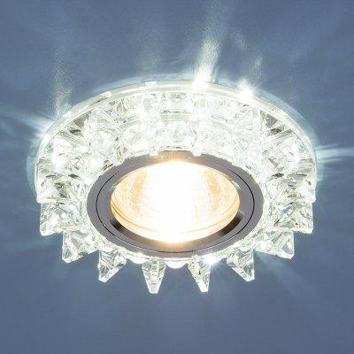 6037 MR16  SL зеркальный/серебро Электростандарт Точечный светодиодный светильник с хрусталемВстраиваемые хрустальные светильники<br>Лампа: MR16 G5.3 max 35 Вт + LED Мощность LED подсветки: 3 Вт Диаметр: ? 95 мм Высота внутренней части: ? 18 мм Высота внешней части: ? 15 мм Монтажное отверстие: ? 60 мм Гарантия: 2 года<br><br>Тип цоколя: gu5.3<br>Диаметр, мм мм: 95<br>Диаметр врезного отверстия, мм: 60<br>Высота, мм: 15<br>MAX мощность ламп, Вт: 50