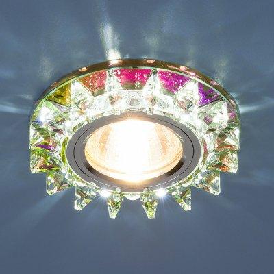 6037 MR16 MLT мульти/хром Электростандарт Точечный светодиодный светильник с хрусталемВстраиваемые хрустальные светильники<br>Лампа: MR16 G5.3 max 35 Вт + LED Мощность LED подсветки: 3 Вт Диаметр: ? 95 мм Высота внутренней части: ? 18 мм Высота внешней части: ? 15 мм Монтажное отверстие: ? 60 мм Гарантия: 2 года<br><br>Тип цоколя: gu5.3<br>Диаметр, мм мм: 95<br>Диаметр врезного отверстия, мм: 60<br>MAX мощность ламп, Вт: 35