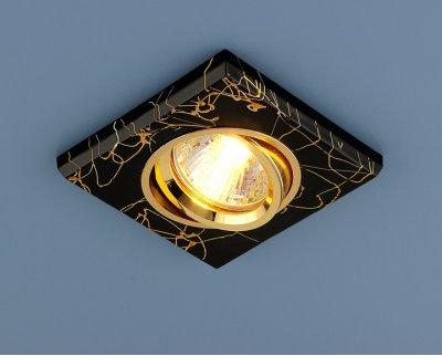 2080 BK/GD (черный/золото) Электростандарт Квадратный точечный светильникКвадратные<br>Лампа: MR16 G5.3 max 35 Вт Размер: 91 х 91 мм Высота внутренней части: ? 20 мм Высота внешней части: ? 10 мм Монтажное отверстие: ? 65 мм Гарантия: 2 года Светильник имеет поворотный механизм<br><br>S освещ. до, м2: до 3<br>Тип лампы: галогенная<br>Тип цоколя: gu5.3<br>Цвет арматуры: Золотой<br>Количество ламп: 1<br>Диаметр, мм мм: 120<br>Диаметр врезного отверстия, мм: 65<br>Оттенок (цвет): черный<br>MAX мощность ламп, Вт: 50W