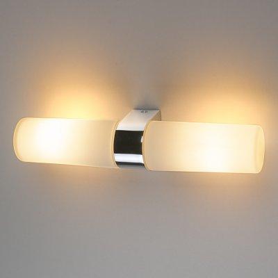Round 2 х 42W хром Электростандарт Влагостойкий  настенный  светильникбра для ванной<br>Настенный светильник Elektrostandard™ предназначен для дополнительного освещения и декоративной подсветки предметов интерьера. Матовая обработка стеклянного  плафона создает мягкое и равномерное освещение. Стильный строгий дизайн светильника позволяет использовать его в любых интерьерах.  Мощность: 2 x 42 Вт Тип лампы: Е14 Пылевлагозащищенность: IP44 Питание: 220 В / 50 Гц Размер: 286 х 75 х 55  мм Горизонтальная и вертикальная установка.<br>