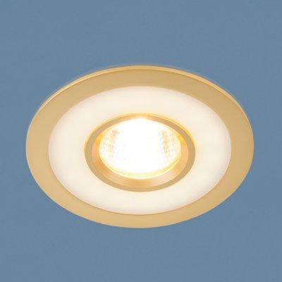 1052 MR16 GD золото Электростандарт Точечный светильник светодиодныйКруглые встраиваемые светильники<br>Лампа: MR16 max 50 Вт + LED Мощность LED подсветки: 3 Вт Диаметр: ? 110 мм Высота внутренней части: ? 24 мм Высота внешней части: ? 3 мм Монтажное отверстие: ? 95 мм Гарантия: 2 года<br><br>Тип цоколя: gu5.3<br>Диаметр, мм мм: 110<br>Диаметр врезного отверстия, мм: 95<br>Высота, мм: 3<br>MAX мощность ламп, Вт: 50