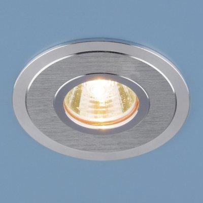 2016 MR16 SCH сатин хром Электростандарт Алюминиевый точечный светильникКруглые встраиваемые светильники<br>Светильник выполнен из литого под давлением алюминия. Строгий классический дизайн позволяет светильнику лаконично смотреться в любом интерьере.<br> Лампа: MR16 G5.3 max 50 Вт Диаметр: ? 95 мм Высота внутренней части: ? 18 мм Высота внешней части: ? 3 мм Монтажное отверстие: ? 75 мм Гарантия: 2 года Корпус из алюминия<br><br>Тип цоколя: gu5.3<br>Диаметр, мм мм: 95<br>Диаметр врезного отверстия, мм: 75<br>Высота, мм: 3<br>MAX мощность ламп, Вт: 50