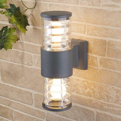 Techno 1407 cерый Электростандарт Настенный уличный светильникУличные настенные светильники<br>Мощность: 2 x 60 Вт (max) Цоколь: Е27 Питание: 220 В, 50 Гц Степень пылевлагозащищенности: IР54 Температура эксплуатации: –45° ... +65° С Материал корпуса: алюминиевый сплав Материал плафона: стекло Размер: 320 х 175 х 108 мм<br><br>Тип цоколя: E27<br>MAX мощность ламп, Вт: 60