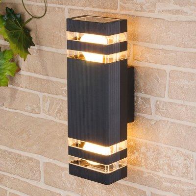Techno 1449 черный Электростандарт Настенный уличный светильникУличные настенные светильники<br>Мощность: 2 x 60 Вт (max) Цоколь: Е27 Питание: 220 В, 50 Гц Степень пылевлагозащищенности: IР54 Температура эксплуатации: –45° ... +65° С Материал корпуса: алюминиевый сплав Материал плафона: стекло Размер: 310 х 105 х 110 мм<br><br>Тип лампы: Накаливания / энергосбережения / светодиодная<br>Тип цоколя: E27<br>Количество ламп: 2<br>MAX мощность ламп, Вт: 60
