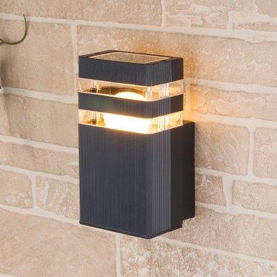 Techno 1450 черный Электростандарт Настенный уличный светильникНастенные<br>Мощность: 60 Вт (max) Цоколь: Е27 Питание: 220 В, 50 Гц Степень пылевлагозащищенности: IР54 Температура эксплуатации: –45° ... +65° С Материал корпуса: алюминиевый сплав Материал плафона: стекло Размер: 200 х 105 х 110 мм<br><br>Тип лампы: Накаливания / энергосбережения / светодиодная<br>Тип цоколя: E27<br>Количество ламп: 1<br>MAX мощность ламп, Вт: 60
