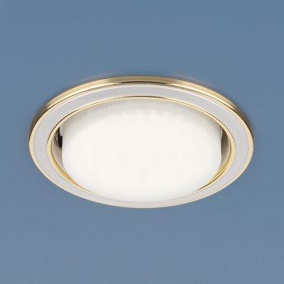 1036 GX53 WH/GD белый/золото Электростандарт Точечный светильникКруглые<br>Лампа: GX53 max 13 Вт Диаметр: ? 105 мм Высота внутренней части: ? 35 мм Высота внешней части: ? 5 мм Монтажное отверстие: ? 90 мм<br><br>Тип цоколя: GX53<br>Диаметр, мм мм: 105<br>Диаметр врезного отверстия, мм: 90