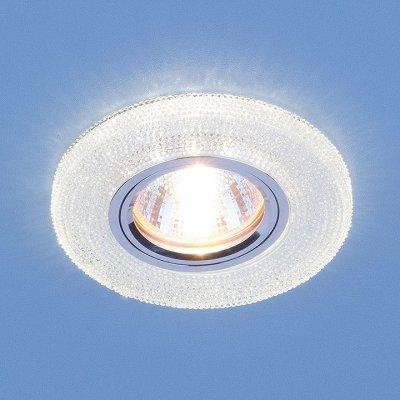 2130 MR16 CL прозрачный Электростандарт Встраиваемый потолочный светильник со светодиодной подсветкойКруглые<br>Лампа: MR16 G5.3, max 50 Вт + LED 3 Вт Температура цвета LED: 4200K (теплый белый) Диаметр: ? 100 мм Высота внутренней части: ? 13 мм Высота внешней части: ? 12 мм Монтажное отверстие: ? 60 мм<br><br>Тип цоколя: gu5.3<br>MAX мощность ламп, Вт: 50<br>Диаметр, мм мм: 100<br>Диаметр врезного отверстия, мм: 60