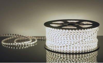 LSTR001 220V 4,4W IP65 белый Электростандарт Светодиодная лентаСветодиодная лента влагозащищенная<br>Технические характеристики: Мощность: 4,4 Вт/м Световой поток: 300 лм/м Свет: 6500 K Питание: DC 220 В Длина: 100 м Кратность резки: 1 метр Сечение: 10 х 6 мм Количество светодиодов: 60 шт./м Пылевлагозащищенность: IР65 Рабочая температура: –25°… +60°C<br>Комплектация: сетевой шнур - 1 шт., заглушка - 1 шт., крепеж - 200 шт., инструкция - 5 шт.<br><br>Цветовая t, К: 6500<br>MAX мощность ламп, Вт: 4.4 Вт/м