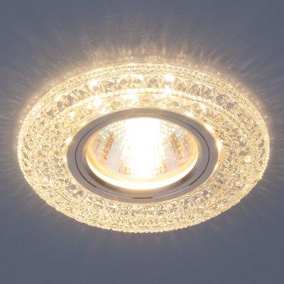2160 MR16 CL прозрачный Электростандарт Встраиваемый потолочный светильник со светодиодной подсветкойКруглые встраиваемые светильники<br>Лампа: MR16, max 35 Вт + LED Мощность LED подсветки: 3 Вт Диаметр: ? 98 мм  Высота внутренней части: 18 мм  Высота внешней части: 11 мм  Монтажное отверстие: ? 60 мм  Гарантия: 2 года<br><br>Тип цоколя: gu5.3<br>Диаметр, мм мм: 98<br>Диаметр врезного отверстия, мм: 60<br>MAX мощность ламп, Вт: 35