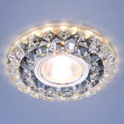 Встраиваемый потолочный светильник со светодиодной подсветкой Elektrostandard 2170 MR16 SBK CL дымчатый прозрачныйВстраиваемые хрустальные светильники<br>Лампа: MR16, max 35 Вт + LED Мощность LED подсветки: 3 Вт Диаметр: ? 120 мм  Высота внутренней части: 15 мм  Высота внешней части: 17 мм  Монтажное отверстие: ? 60 мм  Гарантия: 2 года<br><br>Тип цоколя: gu5.3<br>Диаметр, мм мм: 120<br>Диаметр врезного отверстия, мм: 60<br>MAX мощность ламп, Вт: 35