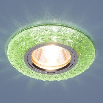 2180 MR16 GR зеленый Электростандарт Встраиваемый потолочный светильник со светодиодной подсветкойВстраиваемые хрустальные светильники<br>Лампа: MR16, max 50 Вт + LED Мощность LED подсветки: 3 Вт Диаметр: ? 96 мм  Высота внутренней части: 19 мм  Высота внешней части: 11 мм  Монтажное отверстие: ? 60 мм  Гарантия: 2 года<br><br>Тип цоколя: gu5.3<br>Диаметр, мм мм: 96<br>Диаметр врезного отверстия, мм: 60<br>MAX мощность ламп, Вт: 50