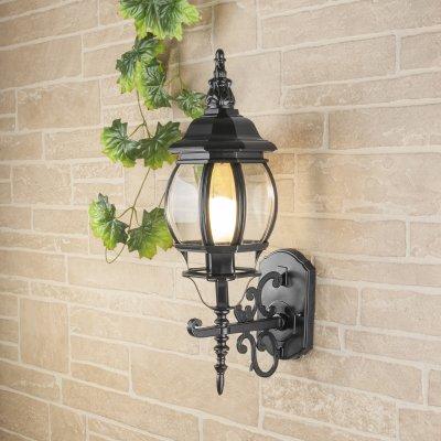GL 1011U черный Электростандарт Светильник уличный настенныйУличные настенные светильники<br>Мощность: 100 Вт Цоколь: Е27 Питание: 220-240 В / 50 Гц Защита: IP 33 Размер: 230 ? 165 ? 415 мм<br><br>Тип лампы: Накаливания / энергосбережения / светодиодная<br>Тип цоколя: E27<br>Количество ламп: 1<br>MAX мощность ламп, Вт: 100