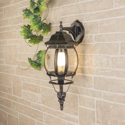 GL 1001D черное золото Электростандарт Светильник уличный настенныйуличные настенные светильники<br>Мощность: 100 Вт Цоколь: Е27 Питание: 220-240 В / 50 Гц Защита: IP 33 Размер: 200 ? 160 ? 450 мм<br><br>Тип лампы: Накаливания / энергосбережения / светодиодная<br>Тип цоколя: E27<br>Количество ламп: 1<br>MAX мощность ламп, Вт: 60