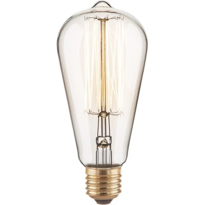 ST64 60W Электростандарт Ретро лампа ЭдисонаРетро лампы<br>Мощность: 60 Вт Питание: 220 В / 50 Гц Световой поток: 340 лм Срок службы: 2500 ч  Гарантия: 6 месяцев Размеры: ?64 х 140 мм<br>