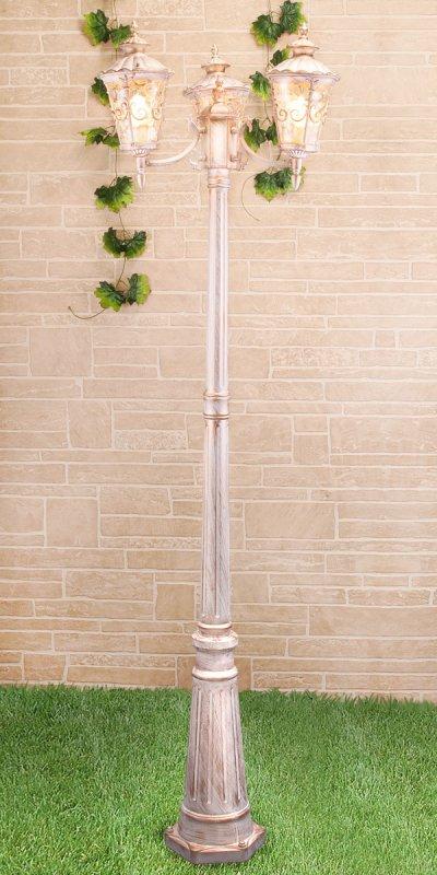 Diadema F/3 (GLYF-8046F/3) белое золото Электростандарт Светильник на столбеБольшие фонари<br>Мощность ламп: 3 x 60 Вт Цоколь: E27 Питание: 220 - 240 В / 50 Гц Пылевлагозащищенность: IP 44 Размер: 570 х 570 х 2400 мм Гарантия 12 мес.<br><br>Тип лампы: Накаливания / энергосбережения / светодиодная<br>Тип цоколя: E27<br>Количество ламп: 3<br>MAX мощность ламп, Вт: 60