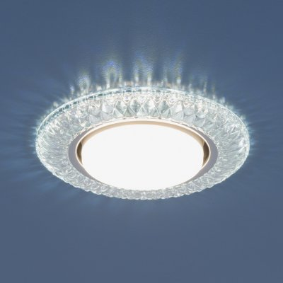 3020 GX53 CL прозрачный Электростандарт Точечный светильник со светодиодамиКруглые встраиваемые светильники<br>Лампа: GX53, max 13 Вт* + LED 4 Вт Диаметр: ? 135 мм  Высота внутренней части: ? 29 мм Высота внешней части: ? 11 мм Монтажное отверстие: ? 82 мм Гарантия: 2 года *Лампа в комплект не входит.<br>