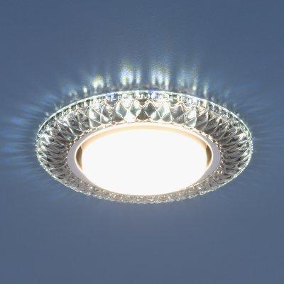 Точечный светильник со светодиодами Электростандарт 3020 GX53 SB дымчатыйхрустальные встраиваемые светильники<br>Лампа: GX53, max 13 Вт* + LED 4 Вт Диаметр: ? 135 мм  Высота внутренней части: ? 29 мм Высота внешней части: ? 11 мм Монтажное отверстие: ? 82 мм Гарантия: 2 года *Лампа в комплект не входит.