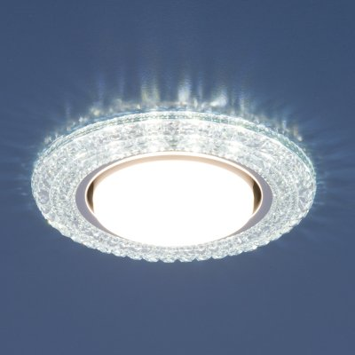 Точечный светильник со светодиодами Elektrostandard 3030 GX53 CL прозрачныйКруглые<br>Лампа: GX53, max 13 Вт* + LED 4 Вт Диаметр: ? 135 мм  Высота внутренней части: ? 29 мм Высота внешней части: ? 11 мм Монтажное отверстие: ? 82 мм Гарантия: 2 года *Лампа в комплект не входит.<br>