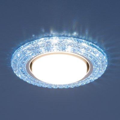 Точечный светильник со светодиодами Elektrostandard 3030 GX53 BL синийКруглые встраиваемые светильники<br>Лампа: GX53, max 13 Вт* + LED 4 Вт Диаметр: ? 135 мм  Высота внутренней части: ? 29 мм Высота внешней части: ? 11 мм Монтажное отверстие: ? 82 мм Гарантия: 2 года *Лампа в комплект не входит.<br>
